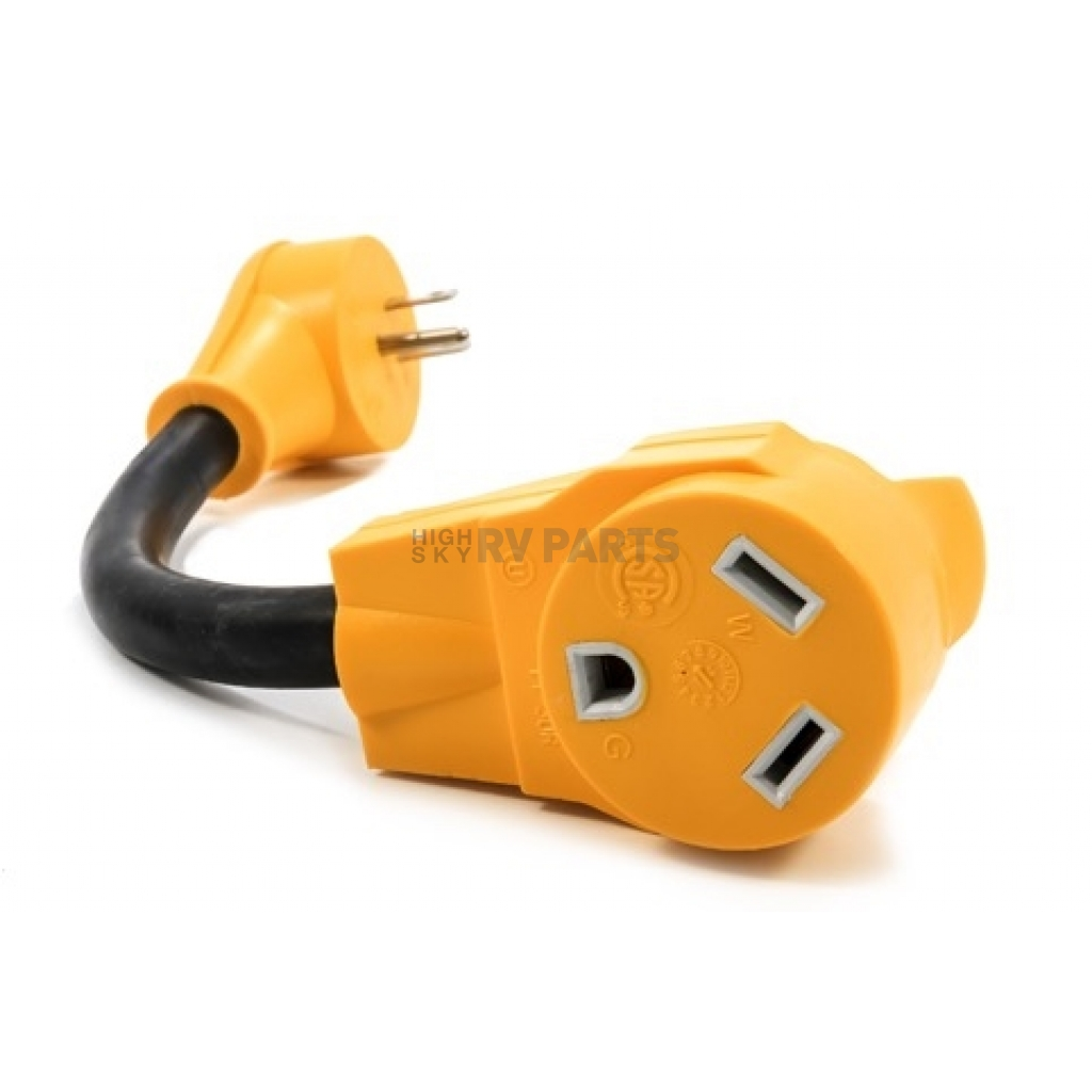 Camco Power Grip Rv Power Cord Adapter 15 Amp Male To 30 Amp Female 55165 Highskyrvparts Com