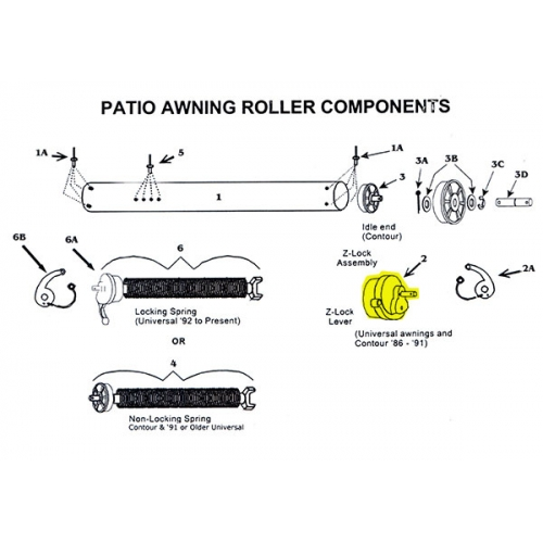 Z Lock Assembly For Zip Dee Awning Patio Roller 201600