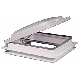 """Heng's Industries Roof Vent Manual 14"""" x 14"""" with Screen, White Lid, Galvanized Metal Base, Without Fan 71111A-C1G1"""