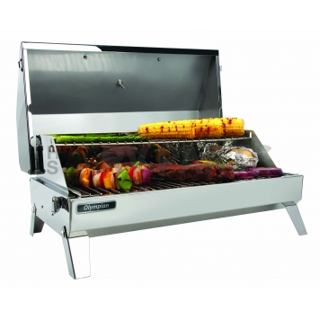 Camco Camping Barbeque Grill - Polished Stainless Steel - 57245