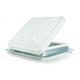 """Camco Roof Vent Manual Opening without Fan 14"""" x 14"""" with Screen and Aluminum Base and White Cover 40480"""