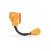 Camco Power Grip RV Power Cord Adapter, 15 Amp Male To 30 Amp Female - 55165
