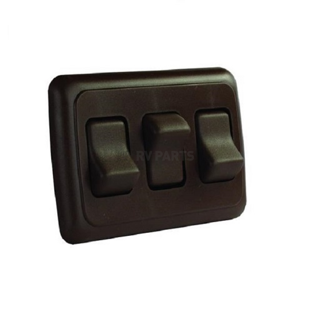 Camper Travel Trailer JR Products RV Triple Rocker ON//Off Assembly Switch in Black- Motorhome Cargo Trailers