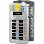 Blue Sea ST Blade Fuse Block - 12 Circuits with Negative Bus and Cover