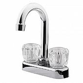 Dura Faucet RV Lavatory Faucet, Hi-Arc Spout, 2 Handle, Chrome