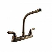 RV Kitchen Faucet 10'' Hi-Rise Classical Spout, 2 Handle, Bronze