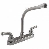 RV Kitchen Faucet 10'' Hi-Rise Classical Spout, 2 Handle, Silver