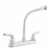 RV Kitchen Faucet 10'' Hi-Rise Classical Spout, 2 Handle, White