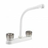 RV Kitchen Faucet 10'' Hi-Rise Spout, 2 Smoked Knobs, White