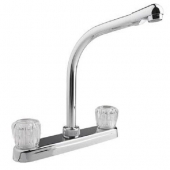 RV Kitchen Faucet 10'' Hi-Rise Spout, Chrome, Crystal Knobs