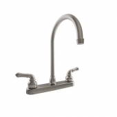 RV Kitchen Faucet 12'' J-Spout, Tea Pot Handles, Satin Nickel
